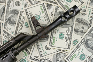 Gun On American Hundred Dollar Bills