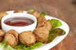 Meatball appetizers with a dipping sauce