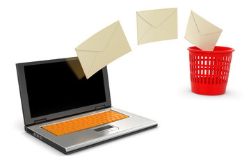 Laptop and letters (clipping path included)
