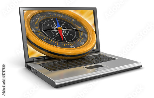 Laptop and Compass (clipping path included)