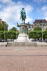 König Karl X Gustav Statue auf dem Stortorget Platz in Malmö
