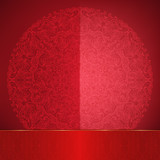 Glossy red card with lace round ornament