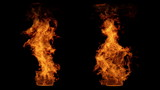Detailed fire isolated on black (seamless loop, full Hd )