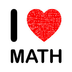 I LOVE MATH (maths mathematics science equations heart symbols)