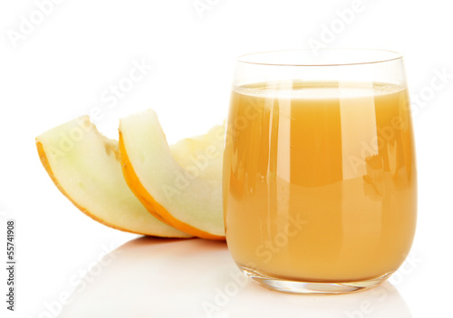 Delicious juice of melon isolated on white
