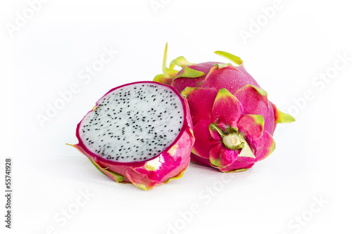 fresh dragon fruit in white background