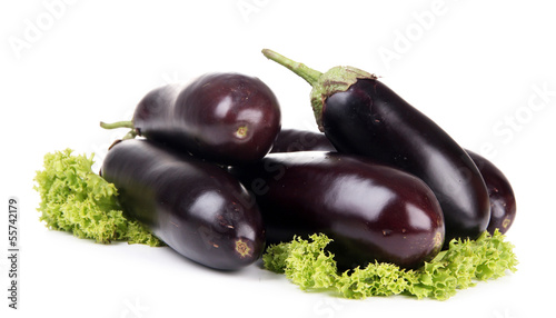 Fresh eggplants isolated on white