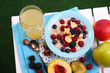 Oatmeal in plate with berries