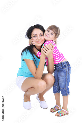Mom and daughter together isolated on white