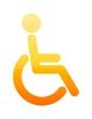 glossy orange wheelchair toilet symbol