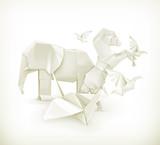 Origami animals, vector illustration