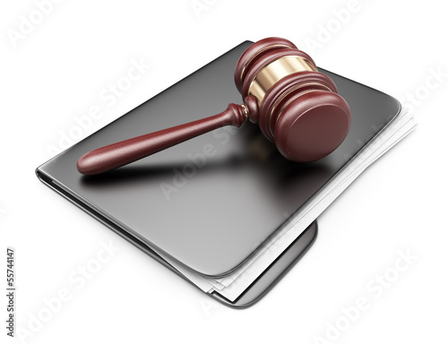 LAW hammer on computer folder. 3D Icon isolated on white backgro