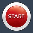 Start button. Round sticker. Metallic icon.