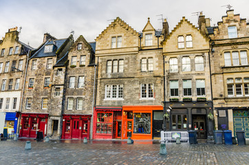 Historic Town Houses and Shopfronts in Edinburgh Old Town