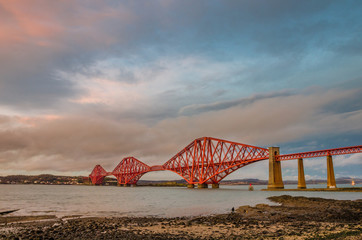 Forth Railway Bridge at Sunset in Winter