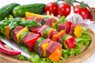 Meat on skewers with vegetables