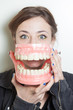 Woman false teeth