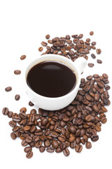cup of black coffee and coffee beans isolated