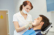 Man with toothache at dentist