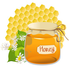 icon with honey on honeycomb background
