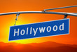 Hollywood Blvd Sign with Bright Orange Sunset Sky