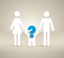 Symbol Eltern mit Fragezeichen als Kind