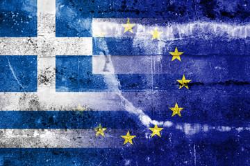 Greece and European Union Flag painted on grunge wall