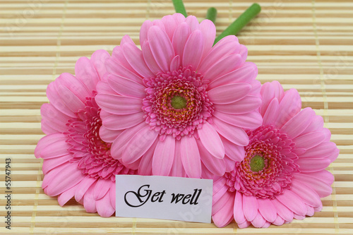 Get well card with pink gerberas