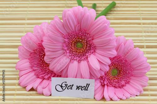 Get well card with pink gerberas