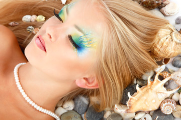 teenager girl mermaid beautiful make-up