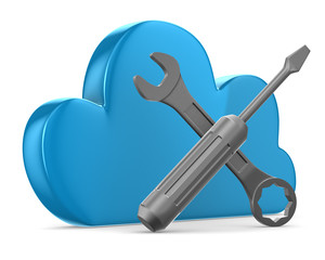 Cloud and tools on white background. Isolated 3D image