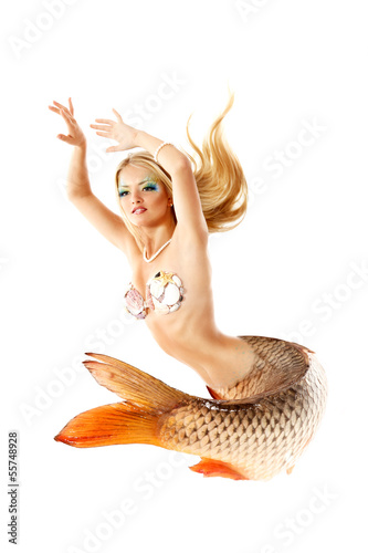portrait of beautiful mermaid girl with fish tail, magic mytholo