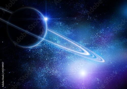 realistic saturn in open space
