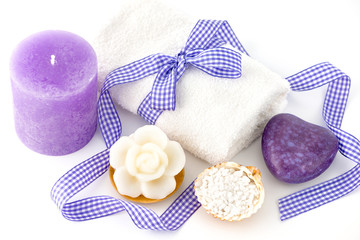 Spa and bath accessories with soap, towel and sea salt