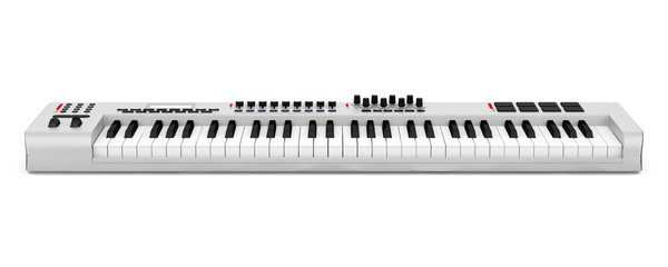 gray synthesizer isolated on white background