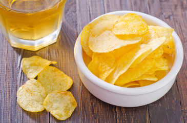 chips from potato with beer