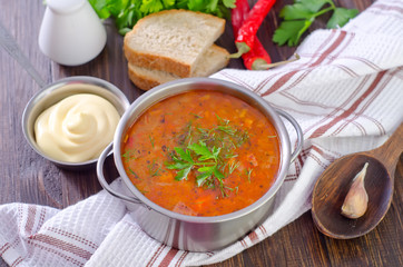 soup with meat and rice