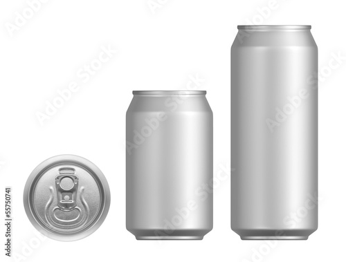 canvas print picture Cans of beer or other drinks on a white background