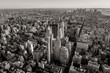 Black and white aerial view of New York cityscape