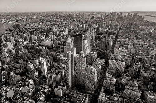 Black and white aerial view of New York cityscape - 55751173