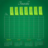 Timetable on the green blackboard for any planning