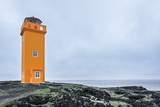 Saxholsbjarg orange lighthouse in Snaefellsnes, Iceland poster