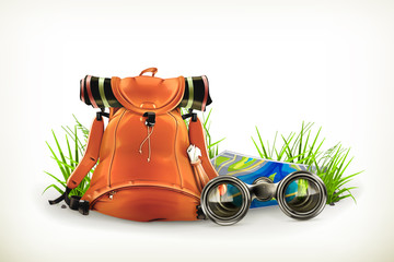Backpacking, vector illustration