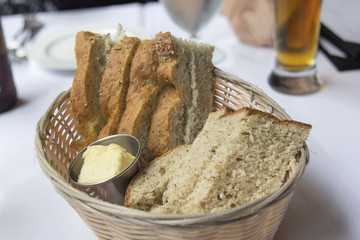 Sourdough and Rosemary Herb Bread in Basket