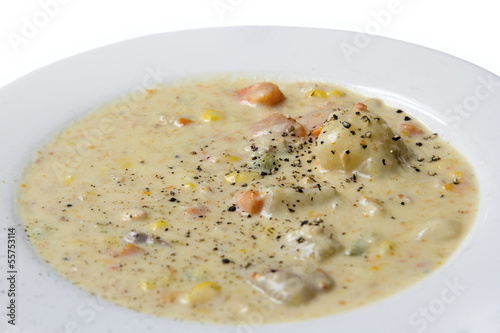 Seafood Corn Chowder Closeup