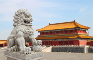 Chinese Imperial Lion Statue with Palace Forbidden city  (Beijin