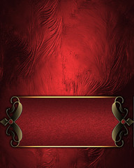 Design template. Red rich texture with red sign