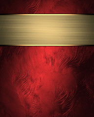 Design template. Red rich texture with gold sign