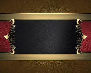 gold background with black name plate with patterns