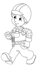 The coloring plate - construction worker